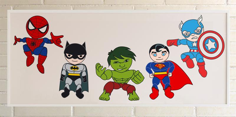 5 superheroes en una lamina