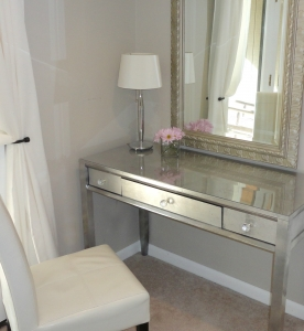 Silver leaf mirrored vanity