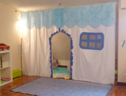 playhouse made from shower curtains