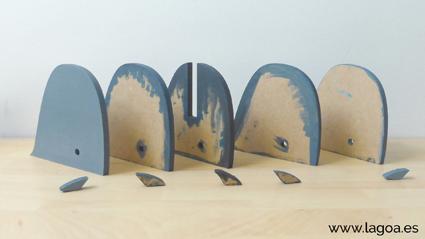 piezas de la ballena catalina ya pintadas
